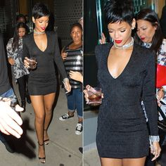 Rihanna leaving VMAs after-party in Balmain dress, Manolo Blahnik sandals and Lynn Ban jewelry.