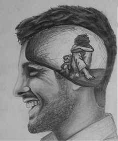 Inside the Mind of a Narcissist Deep Drawing, Smile Drawing, Sad Drawings, Guy Drawing, Art Drawings Sketches, Manga Drawing, Country Girls, Country Music, Sad Art