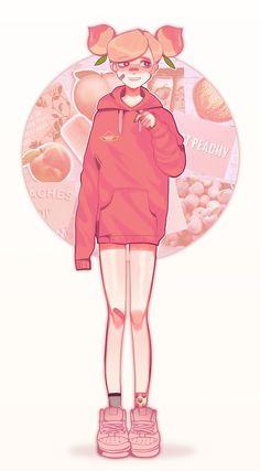 Aesthetic Drawing, Aesthetic Art, Cute Characters, Cartoon Characters, Character Art, Character Design, Peach Fruit, Cookie Run, Peach Aesthetic