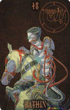 Батин - могущественный герцог королевства демонов, он является смертным в образе всадника, слившегося в единое целое со своим конем,ставшим с ним общим целым