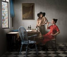 """""""Marriage A la Mode: The Tête à Tête by William Hogarth """"Taking the Chair"""" is a humorous photo series in which classic paintings by Vermeer, Classic Paintings, Old Paintings, Rodney Smith, William Hogarth, Chair Drawing, Manchester Art, Simple Portrait, Johannes Vermeer, Palette"""