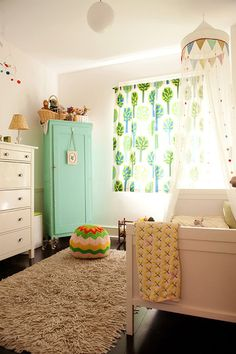 adorable nursery - love the crochet bean bag pouf