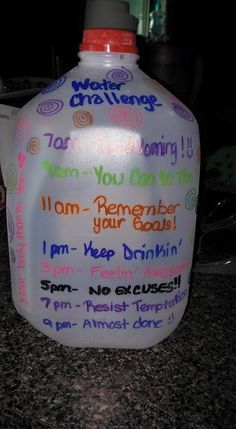 fill gallon water jugs & write goals on it to drink throughout the day - Google Search