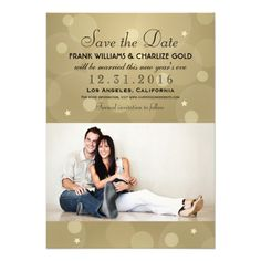 Announce your wedding in style with this gold New Year's Eve save the date photo card. Colorful round champagne gold bubbles frame this elegant and chic wedding save the date announcement. Personalize with custom text and an engagement photo of the bride and groom.