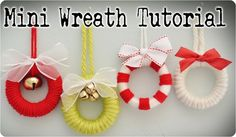 Mini Wreath Ornament Tutorial- Use for neighbor gifts. They are just shower curtain rings for 12 @ Walmart), wrapped in yard, with embellishments of your choice. Decoration Christmas, Diy Christmas Ornaments, How To Make Ornaments, How To Make Wreaths, Christmas Wreaths, Rustic Christmas, Snowman Ornaments, Crochet Christmas, Christmas World