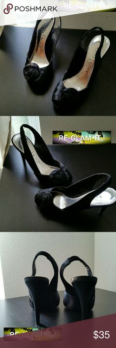 WHBM.....BEAUTIFUL OPEN TOE ...HEELS ...EXCELLENT CONDITION  ...NORMAL WEAR ...NO FLAWS  ...MINOR WEAR ...ON SOLE BOTTOM  ...BEAUTIFUL  ...A MUST HAVEEEEE  ...true to its size and color  ...2 pic up close ...open toe front ...rose... deco front ...4 pic minor wear bottom  ...satin feel ..mtrl. ...HEEL ...adding soon ...better in person White House Black Market Shoes Heels
