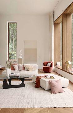 39 Trendy Home Art Modern Interior Design Trendy Living Rooms, Minimalist Living Room, Bedroom Interior, Modern Interior, Wood Interior Design, Living Room Designs, Mid Century Living Room, Rugs In Living Room, House Interior