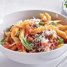 Fresh Tomato, Sausage, and Pecorino Pasta | MyRecipes.com