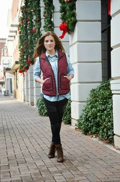 The Dainty Darling - I have a red vest (no check) and a light blue chambray shirt, oh and black leggings :)