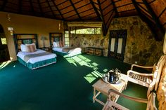 Inside one of the 18 chalets at Matobo Hills Lodge