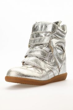 MINUSEY silver glitter high top wedge sneakers