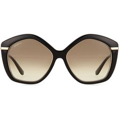 Salvatore Ferragamo Pentagon Butterfly Sunglasses (97.895 HUF) ❤ liked on Polyvore featuring accessories, eyewear, sunglasses, salvatore ferragamo, thick glasses, butterfly sunglasses, gradient lens sunglasses and thin sunglasses