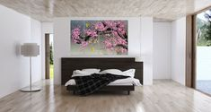 Hand-painted blooming pink plum blossom flower wall art