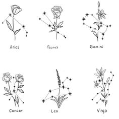 "heather 🧿 on Instagram: ""Little floral constellations available! Flowers can be changed 🌸 Message me to book - only a few spots left in August ✨(ignore my child…"" Dainty Tattoos, Cute Tattoos, Body Art Tattoos, Small Tattoos, J Tattoo, Mini Tattoos, Chest Tattoo, Tatoos, Horoscope Tattoos"