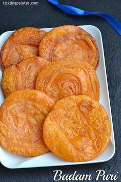 Badam Puri recipe with step by step photos. Badam puri is a Kannada sweet most popular in Karnataka made during festivals like Diwali, Navratri Indian Dessert Recipes, Indian Sweets, Indian Snacks, Indian Recipes, Puri Recipes, Indian Dishes, Indian Breads, Sweet Recipes, Okra