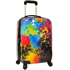 """Traveler's Choice Paint Splatter 29"""" Expandable Spinner Luggage ($110) ❤ liked on Polyvore featuring bags and luggage"""