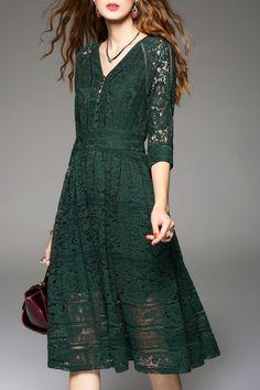 Sweetsmile Blackish Green Knee Length Lace Dress   Knee Length Dresses at DEZZAL