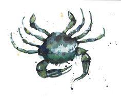 Nautical decor, CRAB, blue green wall art, seaside cottage, beach home, nautical art, blue crab. $30.00, via Etsy.