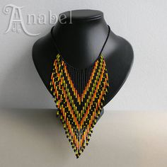 Colorful ethnic beaded necklace with fringe  boho by Anabel27shop  #beadwork