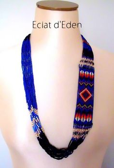 COL13001-Collier Navajo bleu