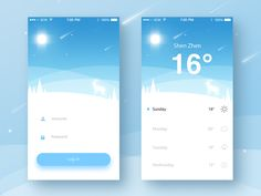 Weather Login App by ruki Web Design, App Ui Design, User Interface Design, App Login, App App, Mobile Ui Design, Mobile App Ui, Ui Design Inspiration, Ui Web