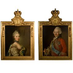 Pair of Paintings of the King and Queen of Sweden by Royal Painter Lorentz Pash   From a unique collection of antique and modern paintings at https://www.1stdibs.com/furniture/wall-decorations/paintings/