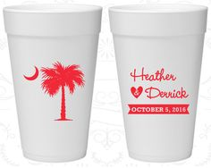 Palmetto Tree, Promotional Party Foam Cups, Crescent Moon, South Carolina Palmetto, Palmetto Tree Moon, Palmetto Moon, Styrofoam Cups (77)