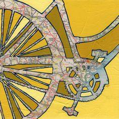 OffTheMapArt @ etsy.com // Bike Savannah print -- featuring Savannah, Georgia bicycle map art print