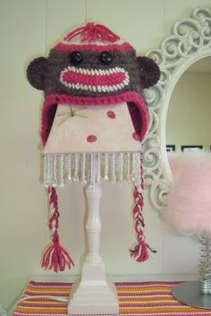 Sock Monkey hat, crochet hat, kids crochet