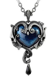Alchemy Gothic Affaire du Coeur Blue Heart w\/ Skulls Pendant Necklace Fantasy Jewelry, Gothic Jewelry, Boho Jewelry, Jewelery, Jewelry Accessories, Fashion Accessories, Jewelry Necklaces, Fashion Jewelry, Fashion Clothes