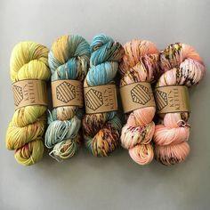 Gorgeous yarns by Crochet Yarn, Knitting Yarn, Knitting Patterns, Crochet Patterns, Yarn Storage, Yarn Inspiration, Yarn Stash, Sock Yarn, Hand Dyed Yarn