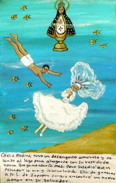"""ithankthevirgin: """" Ofelia Medina was cheated on, so she put her wedding dress on, since she won't have to wear it, and threw herself into the lake. But a fisherman noticed her and saved her. Ofelia thanks the Virgin of Zapopan because she met a new..."""
