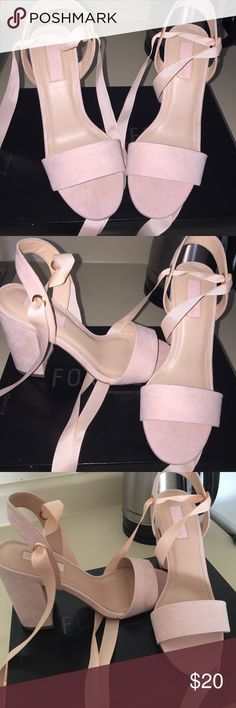 Pink Heels Baby Pink Heels. Never been used. No damage and no stain. Doesn't include the box. Forever 21 Shoes Heels