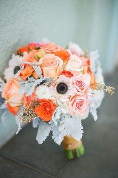 Orange, grey, white bouquet