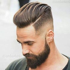 Medium Length Pompadour + Hard Side Part - Disconnected Undercut Hairstyles Pompadour Hairstyle, Undercut Hairstyles, Hairstyles Haircuts, Latest Hairstyles, Mens Hairstyles 2018, Pompadour Men, Modern Pompadour, Funky Hairstyles, Cool Hairstyles For Men