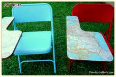 Spray paint all the metal chairs and desks and hardware!