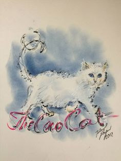 Karl Lagerfeld drawing of his gorgeous kitty Choupette, a white Siamese. LOVE!!