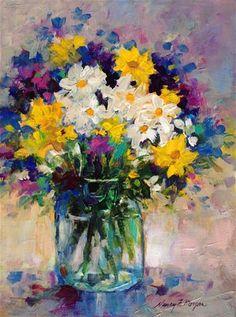 """Daily Paintworks - """"Soft Bouquet"""" - Original Fine Art for Sale - © Nancy F. Morgan"""