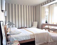 Bedroom grey striped wallpaper