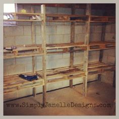 Pallet storage shelves diy in our basement simply designs projects wood pallets Pallet Shelves Diy, Pallet Storage, Wood Shelves, Storage Shelves, Storage Ideas, Cheap Storage, Storage Solutions, Kids Storage, Shelf Ideas