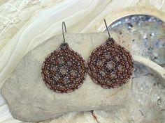 Beaded Mandala Earrings In Brown Copper Bronze, Handbeaded Round Dangles, Boho Round Beaded Earrings, ariearts Beadwork.