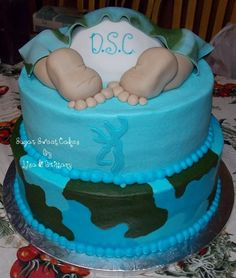 Camouflage Baby Shower Cake Shower cakes Camouflage and Cake