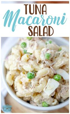 Tuna Macaroni Salad recipe is a classic favorite. Elbow macaroni, canned tuna, onion, peas and a seasoned mayonnaise make this perfect! Seafood Recipes, Cooking Recipes, Healthy Recipes, Cold Pasta Recipes, Healthy Foods, Chicken Pasta Salad Recipes, Pea Salad Recipes, Italian Salad Recipes, Healthy Rice