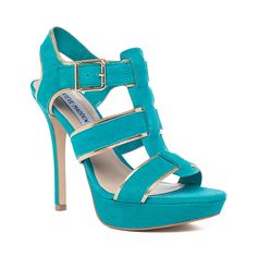 Steve Madden Tessyy Sandal in Teal - features sueded & metallic piping.