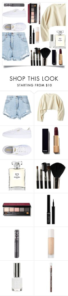 """""""Untitled #19"""" by norma-2002 ❤ liked on Polyvore featuring Nobody Denim, Uniqlo, Puma, Chanel, Glamour Status, Bobbi Brown Cosmetics, Giorgio Armani, Topshop and MAKE UP FOR EVER"""