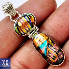SP78713 DICHROIC GLASS 925 STERLING SILVER PENDANT JEWELRY