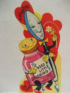 Vintage Valentine Card Anthropomorphic