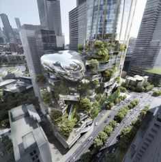 World Architecture Community News - MAD's tower features a mix of natural forms for Southbank by Beulah competition in Melbourne Form Architecture, Futuristic Architecture, Cultural Architecture, Biophilic Architecture, Sustainable Architecture, Vertical City, Futuristic City, Unique Buildings, High Rise Building