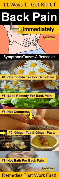 Back Pain Treatment: For Immediate Back Pain Relief, 11 Natural Home Remedies to Get Rid of Back Pain. Roughly 8 out of 10 people suffer from back pain at some point during their lives. Women, in particular, are prone to posture and back problems—thanks t