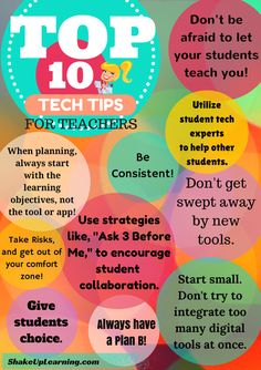 10 tips for teachers integrating technology http://ow.ly/SXm5Q  - graphic via @shakeuplearning #edtech